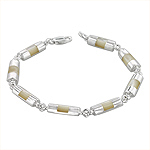 Sterling Silver Half-Cylinder Links Bracelet with White Mother of Pearl