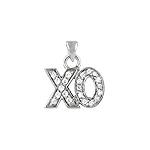 "Sterling Silver Pave CZ ""XO"" Pendant"