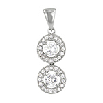 Sterling Silver Rhodium Finish Two Circles Pave and Round CZ Pendant
