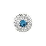 Sterling Silver Rhodium Finish Round Blue and Pave CZ Cable Pendant