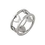 Sterling Silver Rhodium Finish Hearts Anniversary Ring