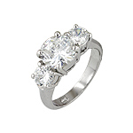 Sterling Silver Platinum Finish Round Cut Three Stone Engagement Ring