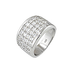 Sterling Silver Platinum Finish Wide Pave Cubic Zirconia Ring