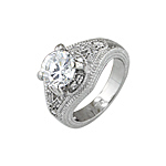 Sterling Silver Rhodium Finish Round CZ Antique Style Wedding Ring
