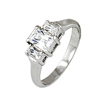 Sterling Silver Platinum Finish Emerald Cut Three Stone Cubic Zirconia Engagement Ring