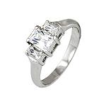 Sterling Silver Platinum Finish Emerald Cut Three Stone Cubic Zirconia Engagement Ring