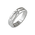 Sterling Silver Rhodium Finish Twist Anniversary Ring