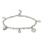 Tiffany Style Sterling Silver Rhodium Finish Atlas Charms Bracelet