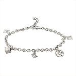 Tiffany Style Sterling Silver Rhodium Finish Atlas Charms Bracelet