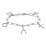 Sterling Silver Bracelet with Wishbone, Hearts, and Cross Charms