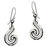 Sterling Silver Double Curve Celtic Pattern Dangle Earrings