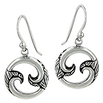 Sterling Silver Curls in Circle Celtic Style Dangle Earrings