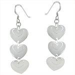 Sterling Silver Cascading Hearts Dangle Earrings