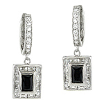 Sterling Silver Rhodium Finish Pave Cubic Zirconia Hoop Earrings with Black Onyx