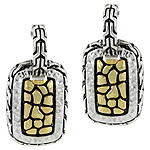 Designer Inspired Sterling Silver Two Tone Cobblestone Rectangular Stud Earrings