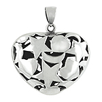 Sterling Silver Hearts, Moons, and Stars Heart Pendant