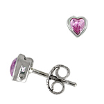Sterling Silver 6mm Bezel Heart Stud Earrings with Pink Cubic Zirconia