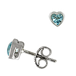 Sterling Silver 6mm Bezel Heart Stud Earrings with Blue Cubic Zirconia