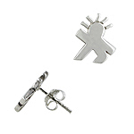 Sterling Silver Matte Finish Walking Man Stud Earrings