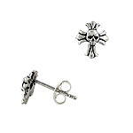 Sterling Silver Cross Stud Earrings with Skull