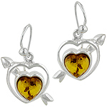 Sterling Silver Amber Heart Dangle Earrings