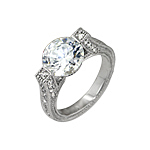 Sterling Silver (10mm) Round CZ Engagement Ring