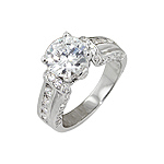 Sterling Silver Round and Channel CZ Engagement Ring