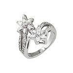 Sterling Silver Two Flowers Pave Ring with White CZ