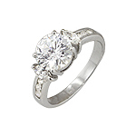 Sterling Silver Round and Marquise CZ Engagement Ring