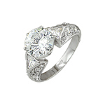 Sterling Silver Brilliant CZ Engagement Ring with Triangular Side Stones