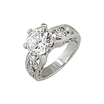 Sterling Silver Round CZ Filigree Engagement Ring