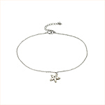 Sterling Silver 1mm Chain Anklet with CZ Star Charm