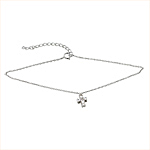 Sterling Silver 1mm Chain Anklet with CZ Cross Charm