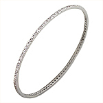 Sterling Silver 2mm Pave CZ Bangle