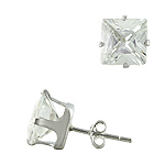 Sterling Silver 9mm Square CZ Stud Earrings