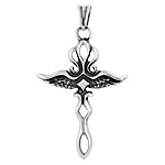 Sterling Silver Wings Dagger Cross Pendant