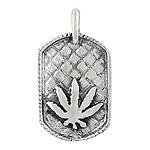 Sterling Silver Marijuana Tag Pendant