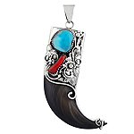 Sterling Silver and Bone Horn Pendant with Imitation Coral and Reconstructed Turquoise Accents Penda
