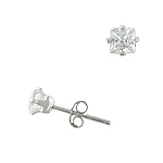 Sterling Silver 4mm Square CZ Stud Earrings