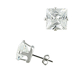 Sterling Silver 8mm Square CZ Stud Earrings