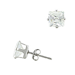 Sterling Silver 6mm Square CZ Stud Earrings