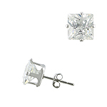 Sterling Silver 7mm Square CZ Stud Earrings