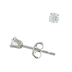 Sterling Silver 3mm Round CZ Stud Earrings