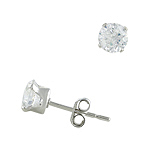 Sterling Silver 5mm Round CZ Stud Earrings