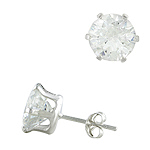 Sterling Silver 9mm Round CZ Stud Earrings