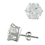 Sterling Silver 10mm Round Cubic Zirconia Stud Earrings