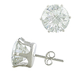 Sterling Silver 11mm Round CZ Stud Earrings