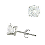 Sterling Silver Invisible Cut 7mm Round CZ Stud Earrings
