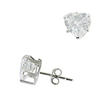 Sterling Silver 7mm Heart CZ Stud Earrings