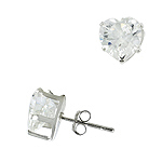 Sterling Silver 8mm Heart CZ Stud Earrings